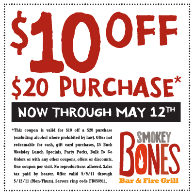 Smokey bones bar fire grill coupons for Firebox promotion code